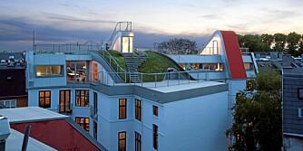 GRØNT TAK: Den unike takterrassen har både hage, lekeplass og platting
