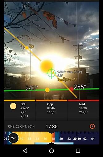 SOLFORHOLD: Appen Sunsurveyor viser deg hvor solen står til gitte datoer og klokkeslett, slik at du for eksempel kan sjekke hvor lenge du har sol på tomten på vinterstid. Den er tilgjengelig for både Android og Iphone/Ipad.