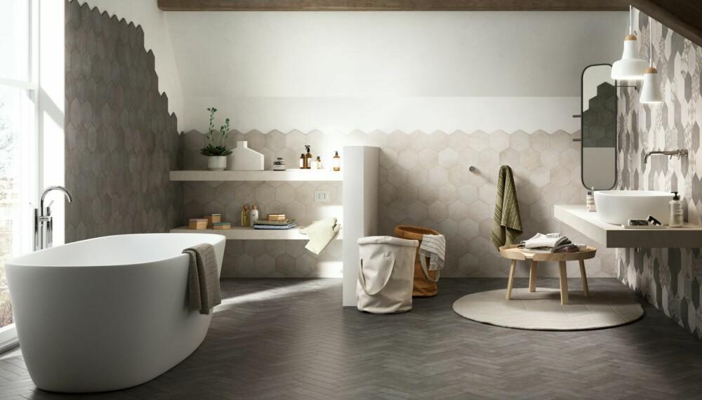 TRENDY: Heksagonfliser er inn, og det samme er marokkanske fliser og marmor.