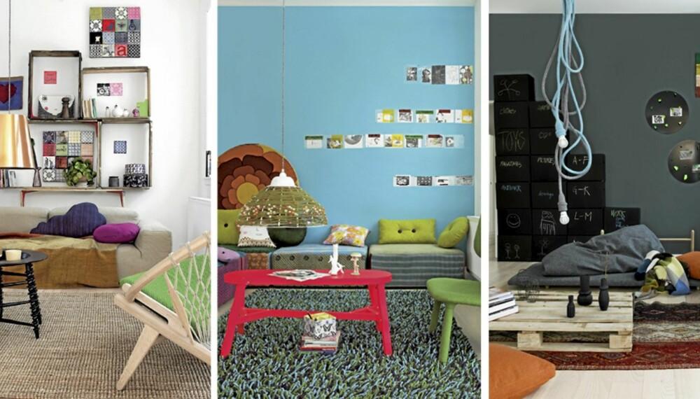 EN STUE - TRE STILER: Stuen er innredet i tre forskjellige stiler: Klassisk med gjenbruk, pangfarger og personlighet og enkelt og kreativt.