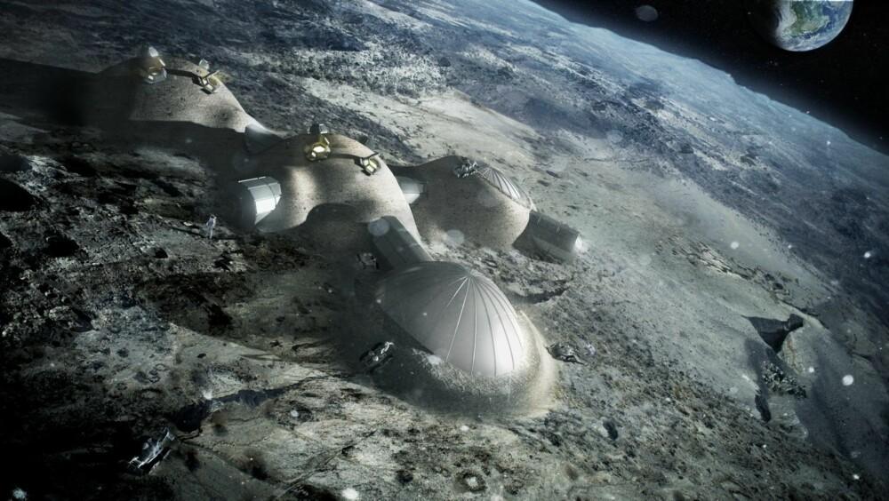 MODULHUS: Boligen er designet av moduler, og kan derfor lett utvides ved å knytte samme flere baser. Huset er først ferdig når alle skall er dekket av månestein fra 3D-printeren.