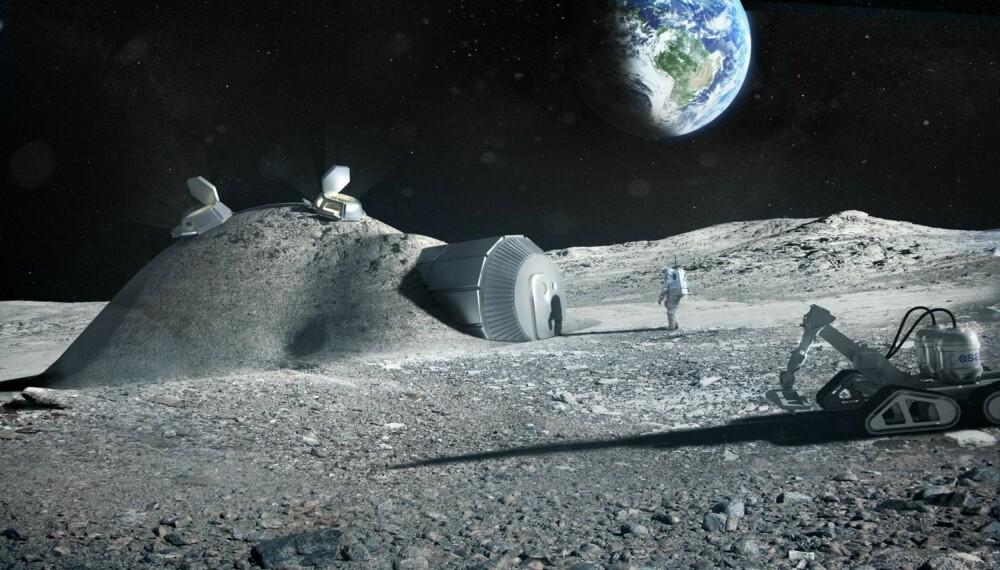 FIN UTSIKT, MEN HAGEN TRENGER HJELP: Litt av hvert å vende seg til om man skal bo på månen. Modulhuset er designet for å tåle klimaet på månens sydpol.