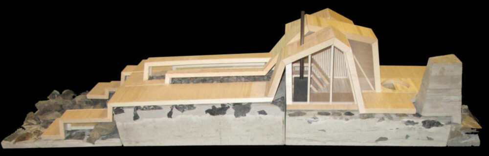 TEGNING: Modell av badstuen.