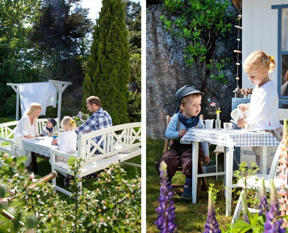 SOMMERHAGE: Lise og Thomas har et stort ønske om at barna skal ta med seg mange gode og solide minner fra barndommen i den frodige hagen, men de vil heller ikke glemme å være til stede akkurat nå. En måte å gjøre det på er å nyte en dessert i hagen! SAFTPAUSE: Samuel har ett og annet å lære av storesøster Lilja. Blant annet å drikke saft fra porselenskopper. Det vesle kafébordet står plassert rett utenfor lekestuen til søskenparet.
