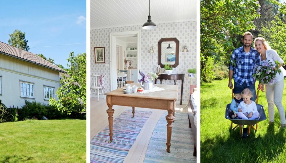 LANDLIG HJEM: Lise Stang-Jacobsen og Thomas Stang ønsket seg et landlig hjem. De fant det i et hus med en stor hage som minnet om barndommens somre.