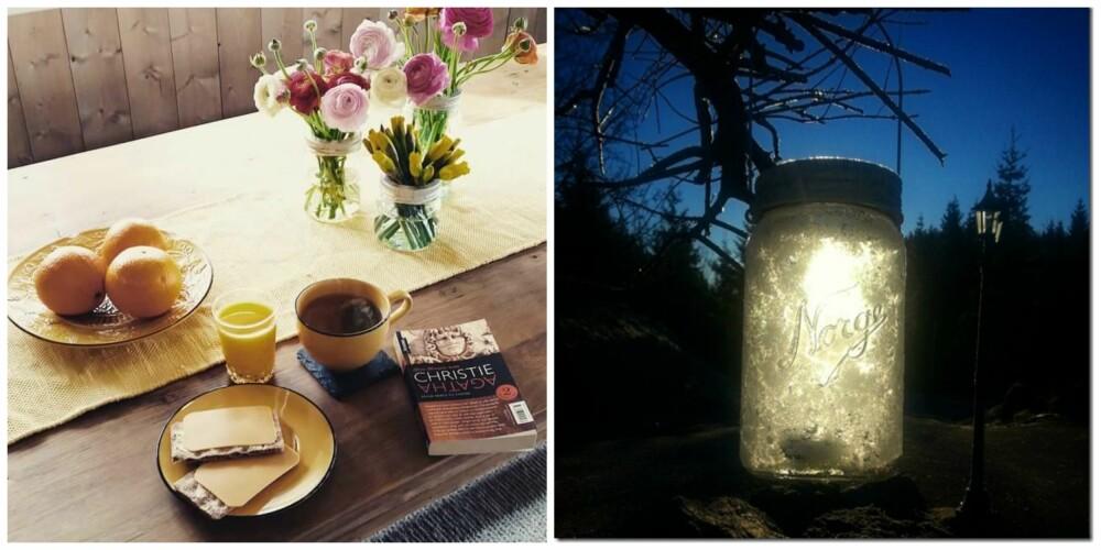 LYKT OG VASE: Til venstre har instagrammer @mallema brukt tre Norgesglass som blomstervaser, mens Nancy Håbesland har brukt Norgesglasset som lyslykt.