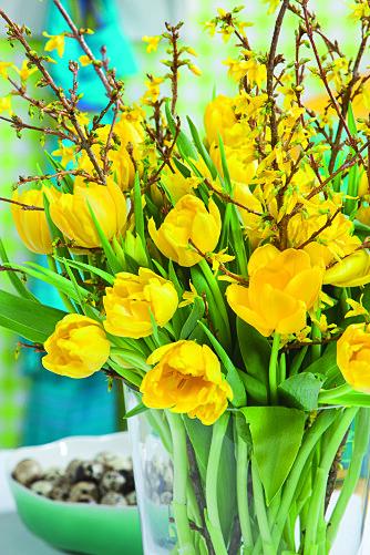 GULE TULIPANER: Gule tulipaner hører for mange påsken til. Du kan friske opp buketten med noen kvister fra hagen.