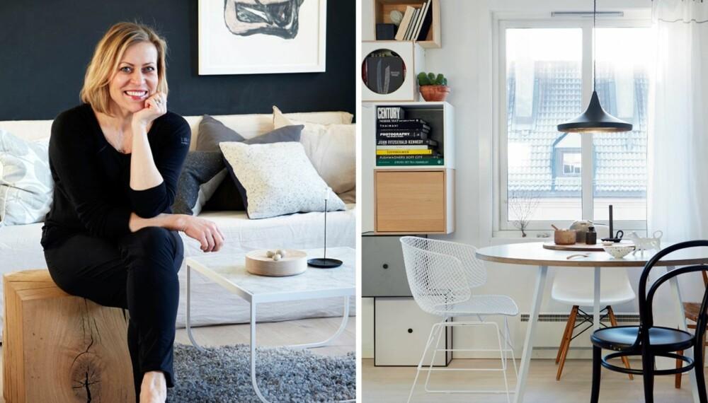 HYBRID STIL: 1. Birgitta Roald liker å blande ny og eldre design. Her sitter hun på en rustikk krakk fra Hole Design. 2. Stuens gulv er i heltre eik og er fra Boen. Det er oljet og tilført lyse pigmenter. Det runde spisebordet er fra Hay, og rundt det har Birgitta plassert ulike stoler. Den svarte stolen er fra Thonet, og er kjøpt på Bolina. Den hvite metallstolen Arkys er kjøpt på Kollekted By. Vintagestolen med flettet sete er fra Børge Mogensen, rundt bordet står også en hvit Eames-stol. Lampen er fra Tom Dixon, og lette gardiner montert med klyper på wire er fra Norrgavel.