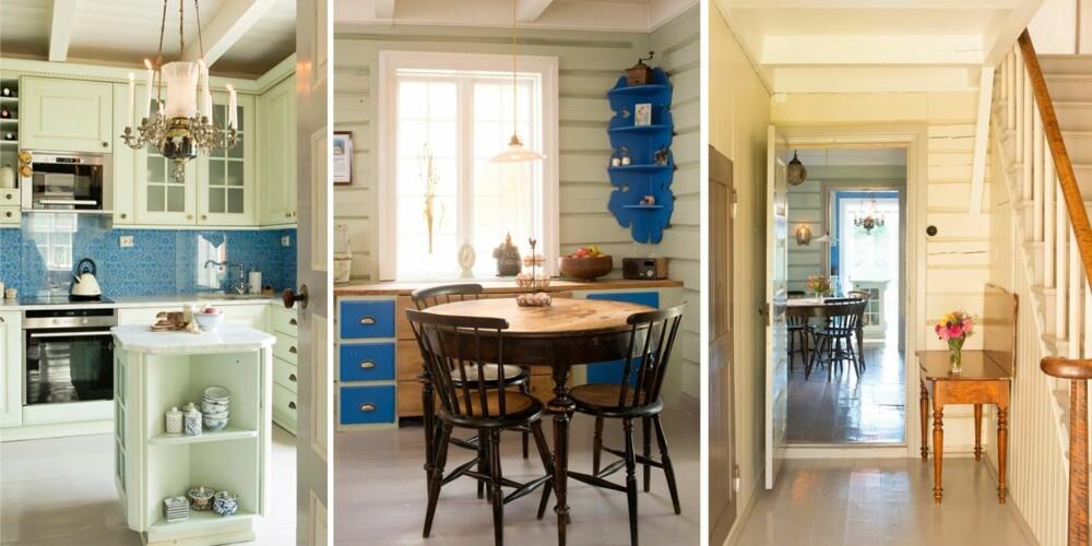 RENOVERING AV HUS: Fra venstre: Kjøkkenet har fått ny frisk innredning fra Italia Kjøkken og Bad, blått tapet fra Else Rønnevig. Lysekrona er fra huseierens barndomshjem, en parafinlampe som er gjort om til elektrisk. I midten: På slutten av dagen møtes huseierne ofte ved det runde spisebordet. Til høyre: Så mye som mulig er bevart. Huseiene har gjort et omfattende renoveringsarbeid med omtanke og kunnskap.