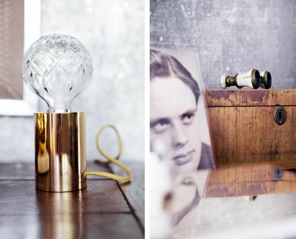 DETALJER: Gamle familieportretter og den moderne krystallampen Clear Bulb fra Bolina pryder den gamle kommoden.
