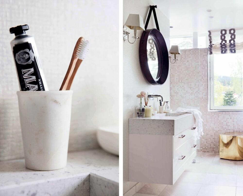 BADEROMMET: Tannglass i marmor, Marvis tannkrem og tannbørste i tre, alt fra Bolina. Badet har fått vegger dekket av mosaikkfliser med perlemorsskimmer. Speilet med ramme og oppheng fra Riis Interiør er en tøff kontrast. Messingpuffen Dråpen fra Milla Boutique gir en deilig dusj av glamour.