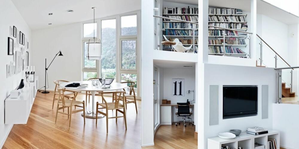 SVEVER HØYT: I spisekroken på kjøkkenet samles familien rundt et bord fra Arper. Rundt bordet står Wegners Y-stoler, som produseres av Carl Hansen & Søn. Pendellampen heter Z5, og er laget av bambus og bomullstekstil, den produseres av Ay Illuminate. Gulvlampen er fra Gras. Den fritthengende skjenken er fra Ikea.