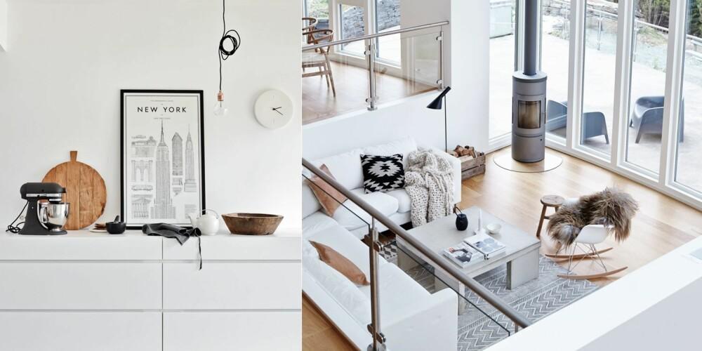 HØYT UNDER TAKET: Venstre: Fra kjøkkenet ser en ned på stuekroken. På det høyeste er det 4,5 meter under taket i huset. Sofaen er fra Ikea, betongbordet er fra Gro Sævik/X-PO Design, teppet er fra House Doctor, vedovnen fra Westfire, pendellampen fra Flos, gyngestolen fra Vitra, og stålampen AJ er fra Louis Poulsen. Høyre: På kjøkkenets anretning er en svart Kitchen Aid en fin kontrast til den rustikke, runde fjølen fra HK Living. Plakaten er fra artilleriet.se, den store trebollen er fra Anouska, og lampen er Framas Diamond Light.