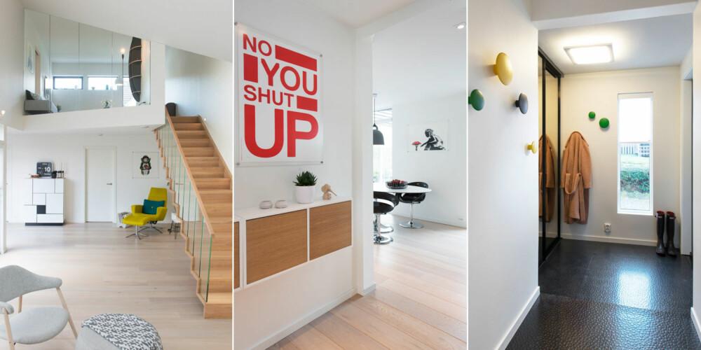 HØYT UNDER TAKET: Til venstre: Trappen i eik, Escalia fra Studio Hagen, svever mellom stuene oppe og nede. TV-stuen  oppe har glassvegg mot  stuen nede. Stuen nede har full takhøyde. Den gule stolen er fra kebe.dk Midten: Inngangspartiet glir rett over i spise- og kjøkkenavdelingen. De vegghengte hyllene med trefronter er fra Ikea. Til høyre: Gangen har gummigulv. Det er lett å vedlikeholde. Knaggene er fra Muuto.