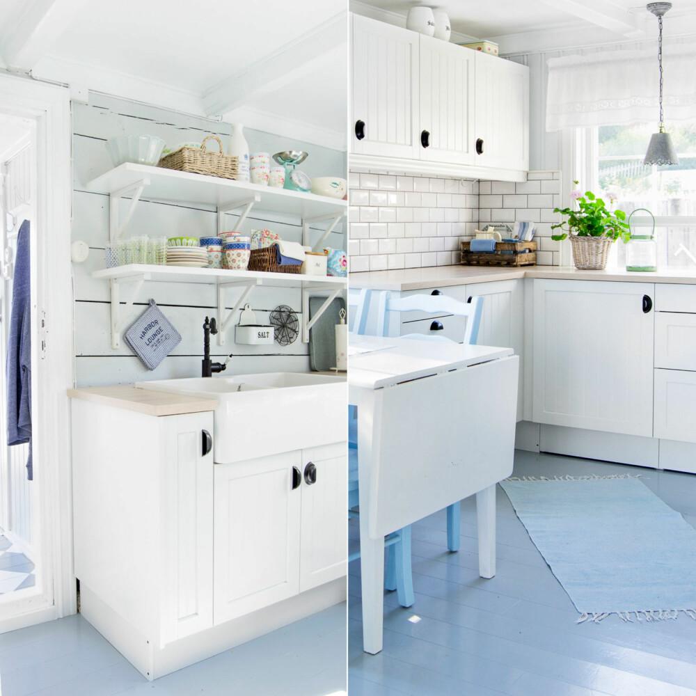 SOMMERLIG: Ved vasken, som er fra Villeroy og Boch, ble den gamle veggen beholdt synlig. Svart kran og skålhåndtak fra Ikea bryter opp i alt det lyse. Kjøkkenet er nylig oppusset i lyse blåtoner og ny hvit innredning fra Sigdal. Kjøkkenbordet og stolene, som paret kjøpte da de var nygifte, er også nymalt i forbindelse med kjøkkenrenoveringen.