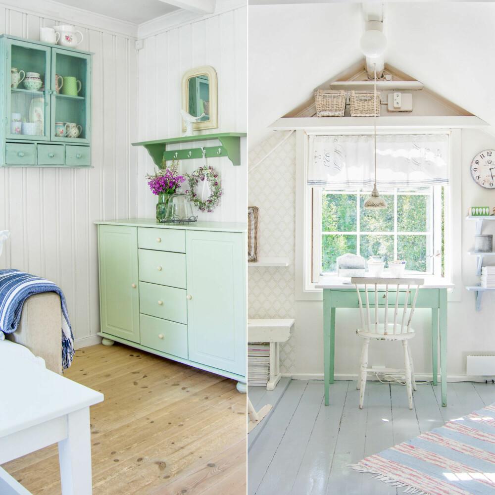 LYSE FARGER: Hele huset er fargesatt i lyse og harmoniske farger. Under skråtaket på loftet har Slettnes innredet et rom til inspirasjon. Her holder hun på med små prosjekter ved det grønne bordet. Sommerstemningen er til å ta og føle på; Lyse vegger, gråmalt gulv og møbler i pastellfarger, akkurat slik Slettnes liker det.