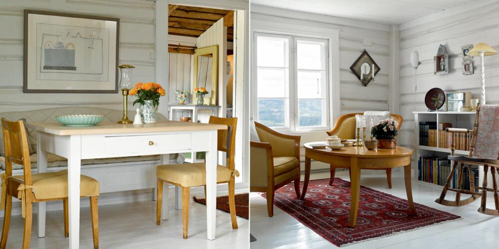 TØMMERSTUA: Den gamle tømmerstua har fått et lekkert og moderne kjøkken som kler huset diskret. Det er så det knapt merkes at det er nesten 200 års forskjell på innreding og bygningskropp. Kjøkkenstolene er gamle Hødnebø-stoler. Selv om bygningene har beholdt sin originalitet, er møblering og farger i de gamle tømmerveggene fornyet etter at Inger og Jan overtok. Stolen og innskuddsbordene i stuedelen er arv fra Jans familie. Gyngestolen kommer fra Kristiansand og er et av Ingers kjæreste arveminner. Denne fikk hennes mor i gave fra sin far.