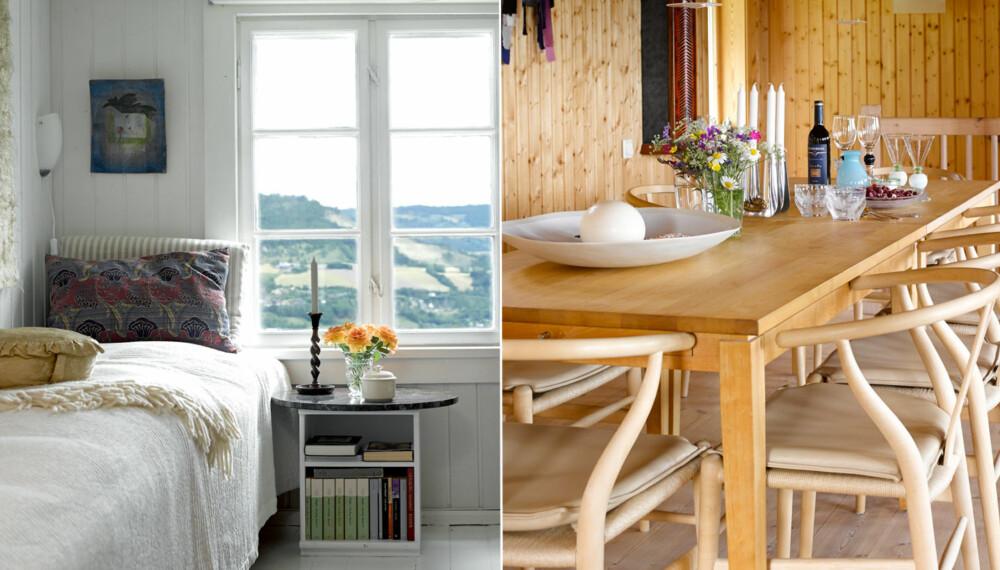 GAMLE-HAUGENG: Kammerset i Gamle-Haugeng er et godt sted å sove i all sin lyse og lune herlighet. Her er det skjønt å våkne til vidstrakt utsikt over dalen.Spisestuen i våningshuset som paret selv har bygget. Spisebordet i bjørk består av to Allegro-bord fra Möbelshop (Lasson Furniture) i Malmö. Y-stolene i ask ble designet av danske Hans Wegner i 1950. Lampene Enigma er utformet av japanske Shoichi Uchiyama.