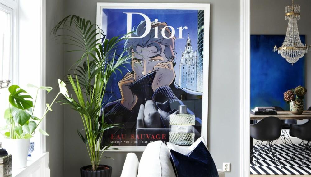 KUPP: Paret fant Dior-plakaten  på ferie i Nice, og fikk den rammet inn i Oslo.