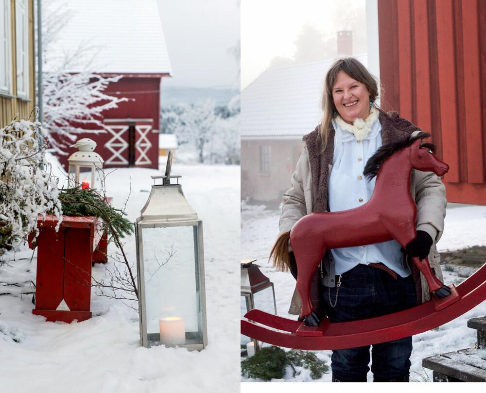 JULEMARKED: Fra venstre: Tente lykter ønsker oss velkommen, og en gammel rød benk er koselig pyntet med granbar. Flere unike produkter er å finne på markedet. Denne røde gyngehesten tilhørte i sin tid Oslo kretsfengsel.