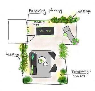 LOUNGE: Loungedelen utgjør størstedelen av terrassen. Langbordet er plassert i det intime hjørnet, mens solsengen er plassert ytterst, så eierne sikrer seg god utsikt når de slapper av.