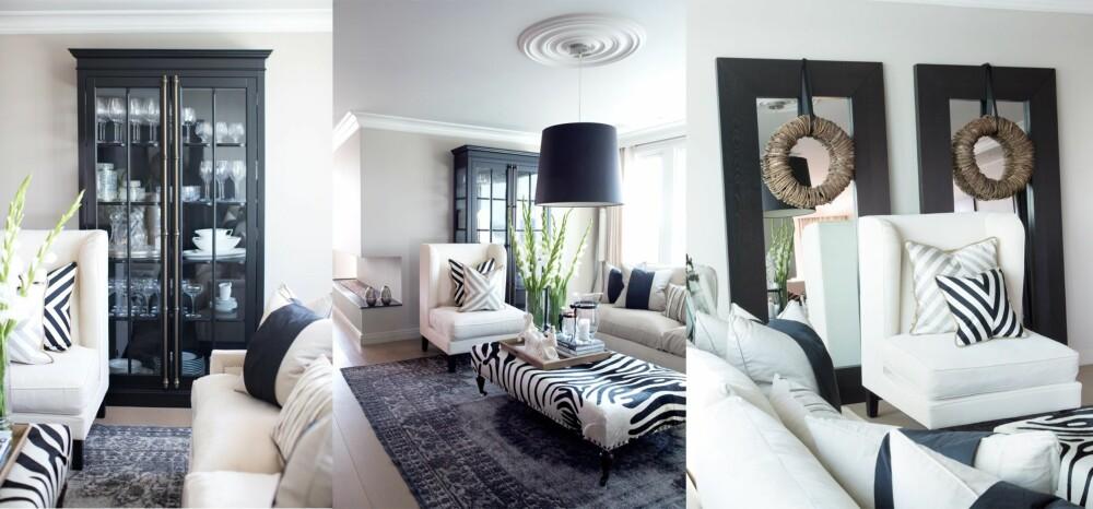 STUEN: Den hvite lenestolen er av merket La Fibule og blir ofte brukt som hotellmøbel. De beige sofaene er fra Andrew Martin. Puff i sebraskinn fra interiørbutikken The One i Dubai. Alle puter er egendesignet; både disse, stolen og teppet selges gjennom Governato Design. Figur i hvit sten er kjøpt på Vestkantorget i Oslo. I boligen er det alltid tente duftlys og friske blomster; to av Angelas must-haves.  I det sorte vitrine-skapet står en samling krystallglass. - Jeg er veldig glad i Waterford krystall og samler på glass og karafler herfra, sier hun.