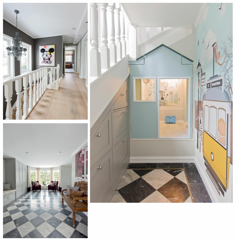 HALLEN: Fliser lagt i et skråstilt sjakkmønster ønsker deg velkommen i den store hallen i første etasje, men for øvrig er alle gulvene gjennomgående lagt med brede eikeplanker.