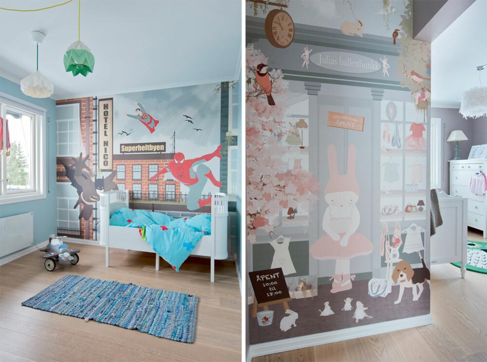 LEKENT: På jenterommet har en liten ballettdanser okkupert veggen. Gutterommet er tapetsert med Spiderman-tapet fra Little Hands Illustration (littlehandsillustration.com) i Portugal, som sender til Norge.