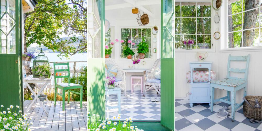 I lysthuset liker Hulda å stelle med plantene sine, og her trives de og vokser seg store og fine i det lyse rommet. Favorittpynten i lysthuset er selvplukkede blomsterbuketter funnet like utenfor.