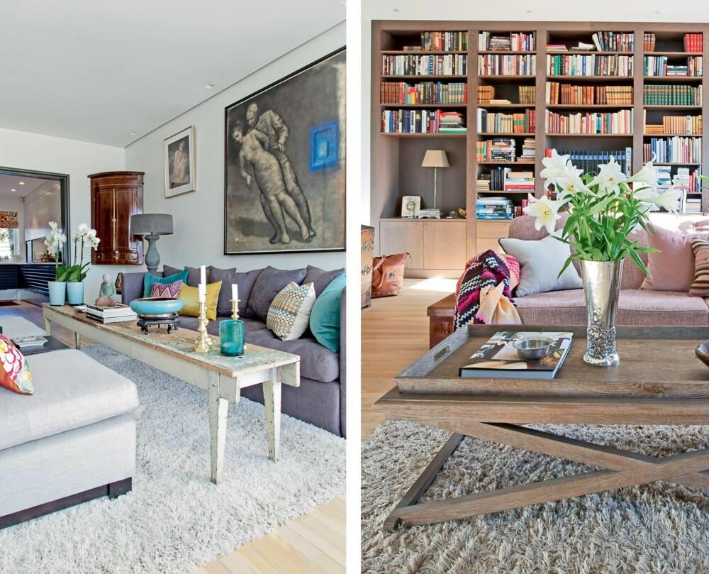 HARMONI: I stuen har Trine kombinert nyere møbler med kunst og klenodier som har fulgt familien lenge. Hun har holdt alt i samme fargetoner for bedre harmoni. Det ble satt inn en skyvedør mellom kjøkken og stue for å beholde den luftige og åpne atmosfæren, samtidig som det er mulig å lukke dørene ved behov. Mahogniskapet i hjørnet kjøpte Trine i en antikvitetsforretning for 20 år siden. Bildene på veggen er kulltegninger fra Svein Bolling - en kunstner Trine «oppdaget» for 30 år siden. Hun er fortsatt en stor beundrer av hans arbeider. Sofaen er fra fra Magazin, bordet er en gammel benk.
