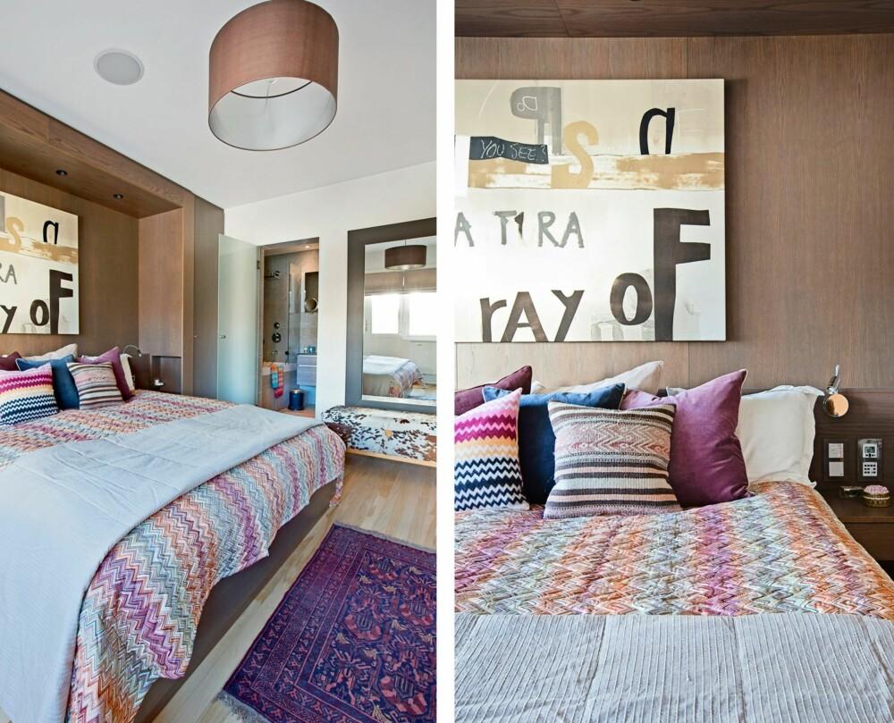 SOVEROM: Sengeteppet og putene er fra Missoni Home. Gavlveggen bak sengen er laget av Tre-verk-Stedet. Den gir rommet karakter og en følelse av å sove på et hotell. Fra soverommet er det direkte inngang til ett av husets tre bad. I nisjen over sengen henger et maleri av Magne Furuholmen.