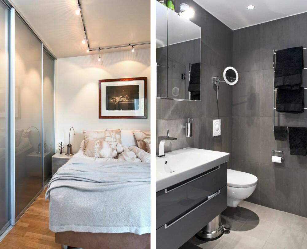 FYLL VEGGEN: Det første Tove gjorde var å montere skap fra gulv til tak på soverommet. Spotene er plassert på skinner slik at de er fleksible. SNEDIG: Badet er på 3,5 kvm, dusjdørene kan slås inn når de ikke er i bruk. Innredning fra Villeroy & Boch. Speilskap sparer plass, og lyset over speilet gir fine sminkeforhold.