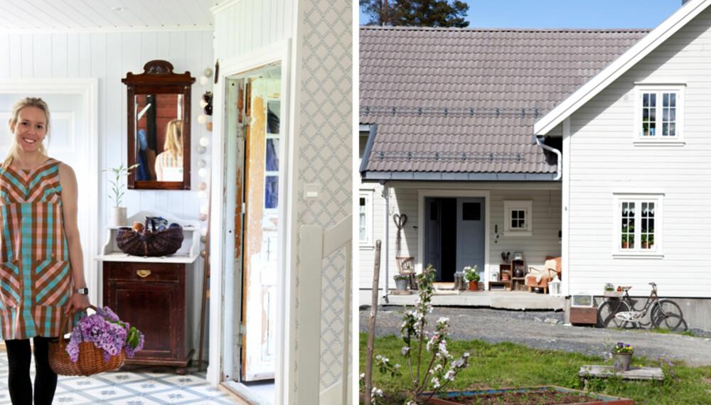 LANDLIG INTERIØR: Delen til venstre er det nye påbygget på det opprinnelige huset (til høyre). Paret har mange planer for tun og hage.