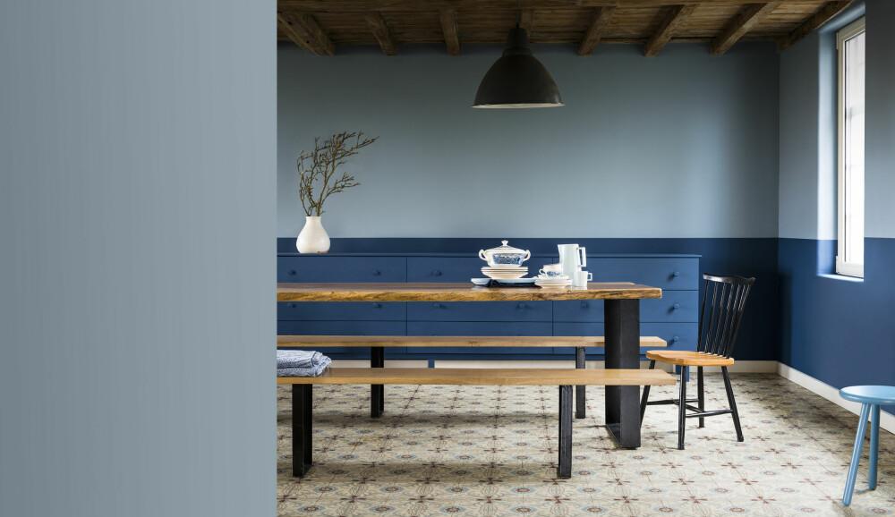 JEANS: Denim Drift, årets farge fra Nordsjö, er en blåfarge designet for å fungere like godt på kjøkkenet som i soverommet. Årets farge minner om et par klassiske jeans.
