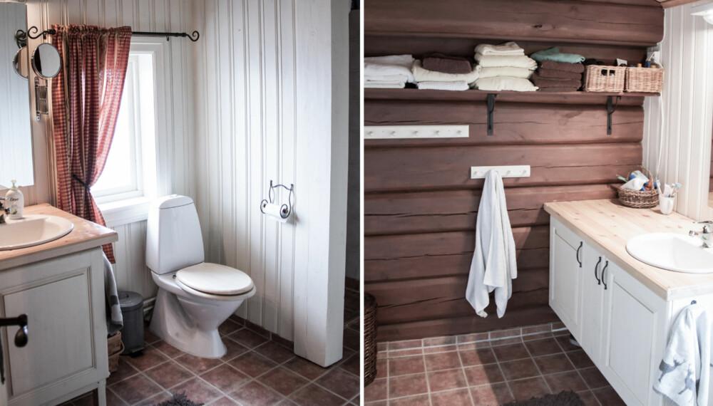 FØR: Slik så badet på hytta i Oppdal ut før hytteeierne startet oppussingen.