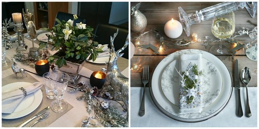 INSPIRASJON SØLV: Bordene er dekket med sølvpynt. Til venstre er det brukt dyrefigurer og en vakker julerose har fått plass midt på bordet. På bordet til høyre er det brukt to servietter som er bundet sammen med en grankvist og på bordet ligger en lenke av lys.