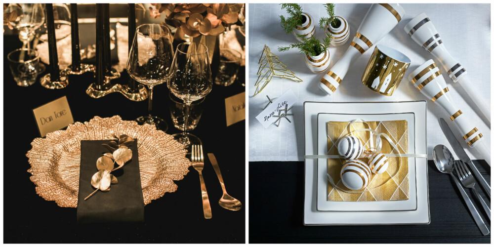 INSPIRASJON: Bordet til venstre er dekket i fargene sort og gull. Det er brukt dekketallerken i gull, samt pyntet med kvister av eucalyptus som er sprayet med gullfarge. På bildet til høyre går gullfargen igjen med julekuler og serviett i gull, men det er også elementer av sølv på bordet.