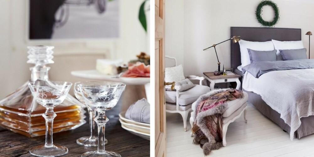 ROM FOR HVILE: Marit er veldig glad i karafler i krystall, og har mange av dem. Glassene og karaffelen her er av merket Bohemia og er kjøpt i Krakow. Stettefatet i tre og marmor er kjøpt på Cornelias hus i Trondheim. Svart/hvittbildet er fra Slettvoll. 2.Marit og Kent valgte å male gulvet på soverommet hvitt. Sengen, sengetøyet og lampen er fra Slettvoll. Bordet er fra Riviera Maison, mens stolen og pelsen har Marit fra interiørbutikken som hun selv eide og drev i fem år. Alle dørene i huset er pusset ned og lutet.