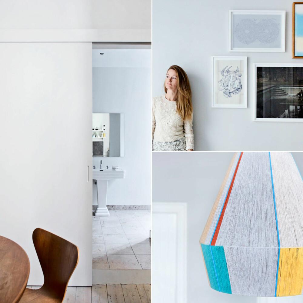 Til venstre: Gjemt bak en skyvedør på kjøkkenet ligger badet. Stolene er klassikere av Arne Jacobsen. Vegger og dører er malt i Wimborne White, Farrow & Ball.Til høyre: Lampen over spisebordet er laget av den serbiske kunstneren Ana Kras. Den består av tråder viklet rundt en skjerm. Utvalgte bilder er dekorativt plassert sammen. Veggfargen heter Cornforth White fra Farrow & Ball. Signe Toft arbeider som advokat, men er også genuint opptatt av interiør. Hun stortrives når hun kan kaste seg over et prosjekt der alle muligheter er åpne.