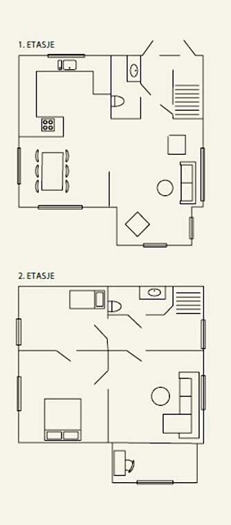 PLANLØSNING: Her kan du se planløsningen til Kine og Kristoffer sin bolig.