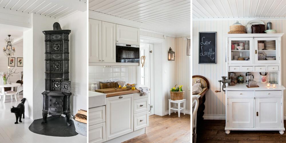 KJØKKENET: På kjøkkenet er det bare innredning på den ene langveggen. På den andre har paret i stedet satt inn et gammelt skap som rommer mye.