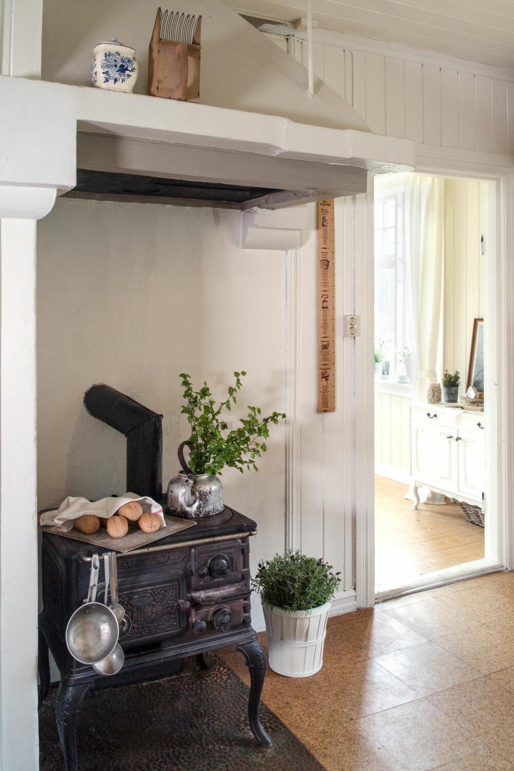 VEDOVN: Da paret først flyttet inn, hadde de bare denne gamle vedkomfyren å lage mat på. Det tok fem timer å lage lasagne, ler Katrine.