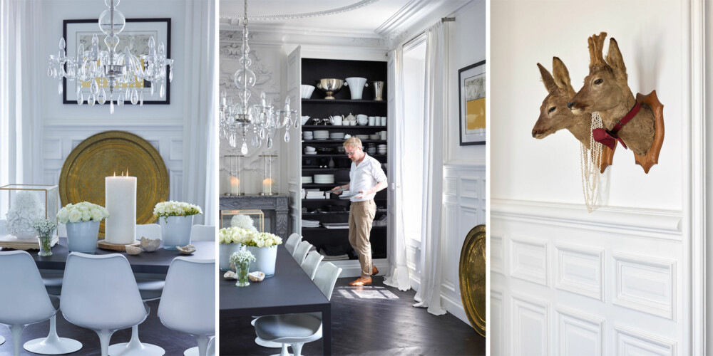 SPISESTUE: Rommet var opprinnelig malt i mørke farger, med brystning i tre og et lysere gulv. Morten malte både vegger og tak hvite, og laserte gulvet nesten svart. Rundt det mørke bordet står designklassikeren Tulip Chair, formgitt av Eero Saarinen – en fin kontrast til den elegante lysekronen. Også i dette rommet er det skjulte skap bak veggpanelene.