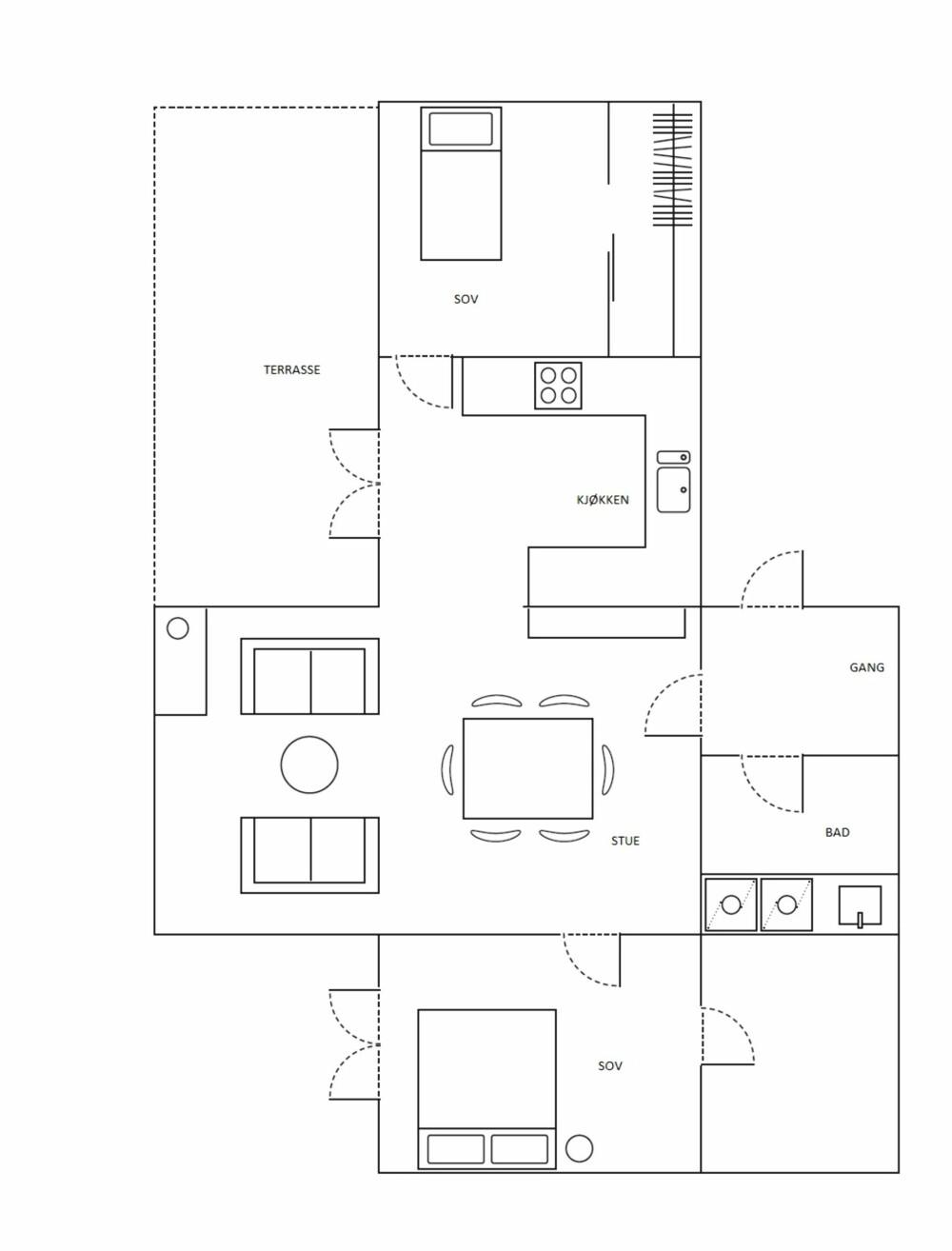 SMART UTNYTTELSE: Familiens leilighet på i overkant av 100 kvm er godt utnyttet.