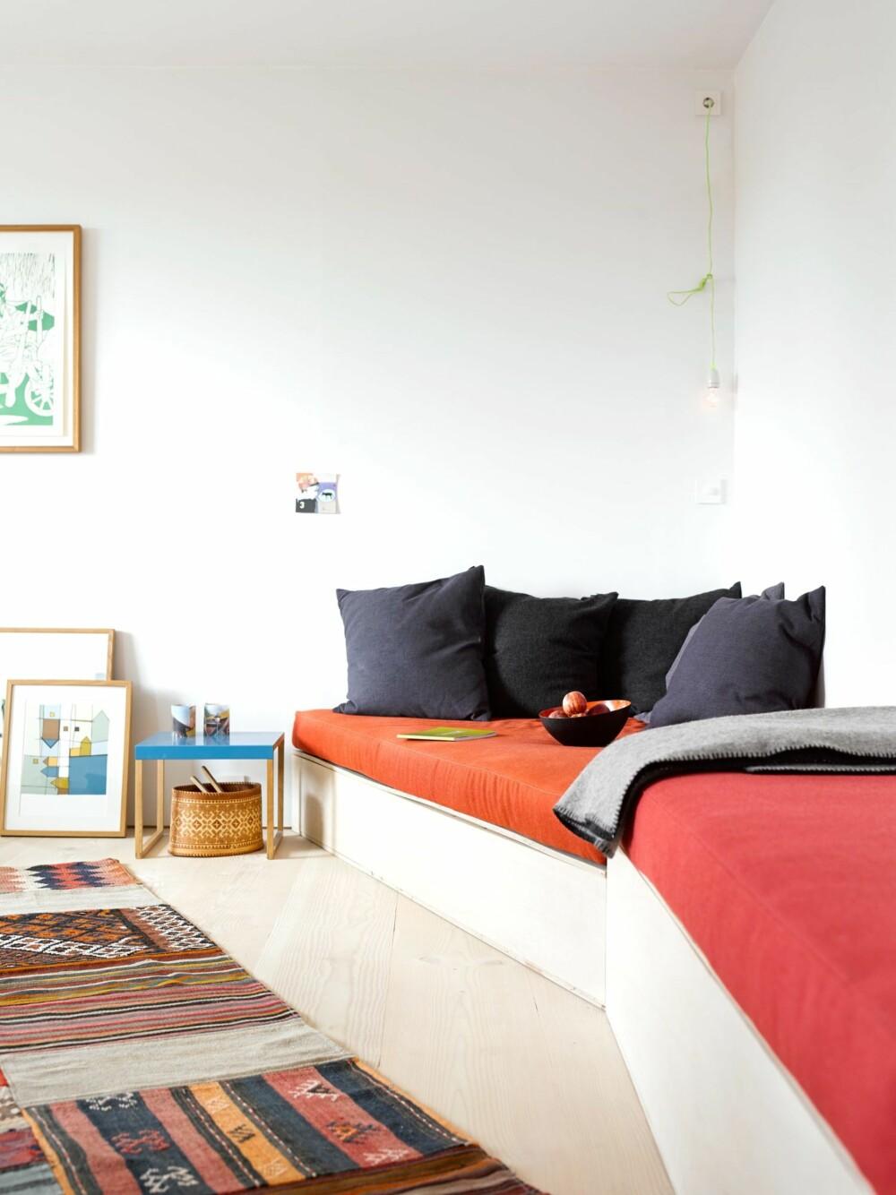 SELVGJORT ER VELGJORT: Den hjemmesnekrede sofaen  har lagringsplass for blant annet motorsag, støvsuger og klær. Teppet er fra Lauritz, bordet er fra Ett To Design.