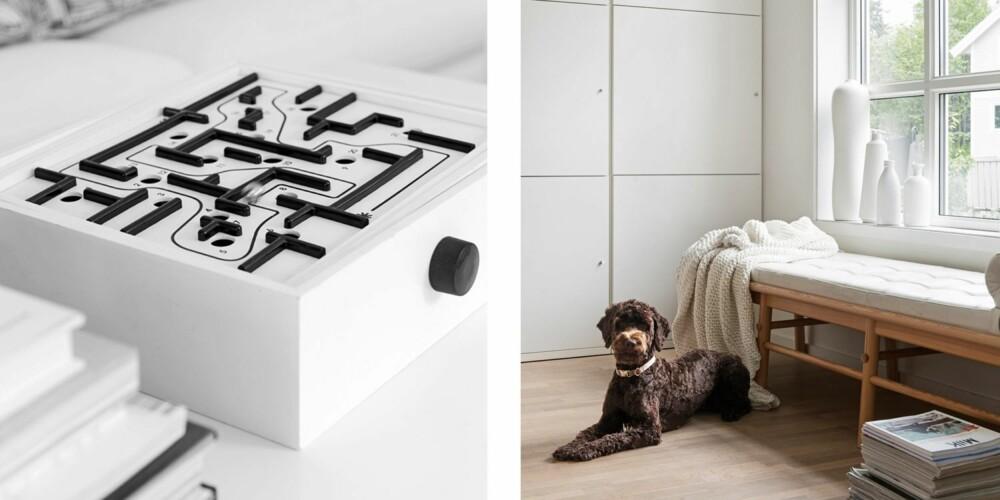 KONTRASTHUND: Det klassiske labyrintspillet fra Brio, her i en spesialutgave i hvitt fra Asplund i Stockholm. 2. Dagsengen er fra en av Ikeas PS-kolleksjoner, pleddet er kjøpt på reise. Vasene i karmen er som skulpturer i rommet og har sjelden blomster i seg.