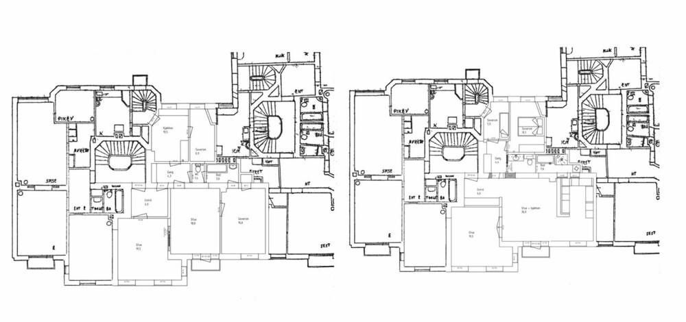 FØR OG NÅ: Leiligheten har gjennomgått store endringer. Til venstre ser du leiligheten før, og til høyre etter. Leiligheten er markert med svake linjer. Paret har blant annet valgt å flytte kjøkkenet så de har fått åpen kjøkkenløsning. Dører og vegger er også flyttet på.