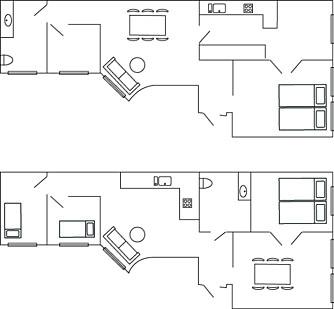 FØR OG ETTER: Før var kjøkkenet trangt og smalt, og hovedsoverommet for stort. Nå er kjøkkenet plassert sentralt, mens soverom er der kjøkkenet var. Planen er etterhvert å flytte  badet inn på det gamle kjøkkenet .