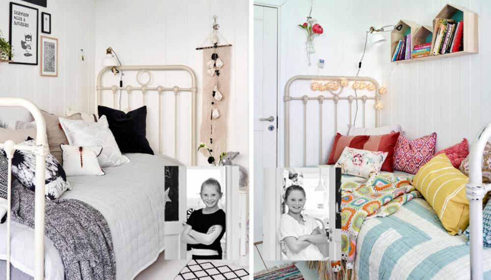 INTERIØR TIL BARNEROM: Sofia sitt rom til venstre. Selma sitt rom til høyre.
