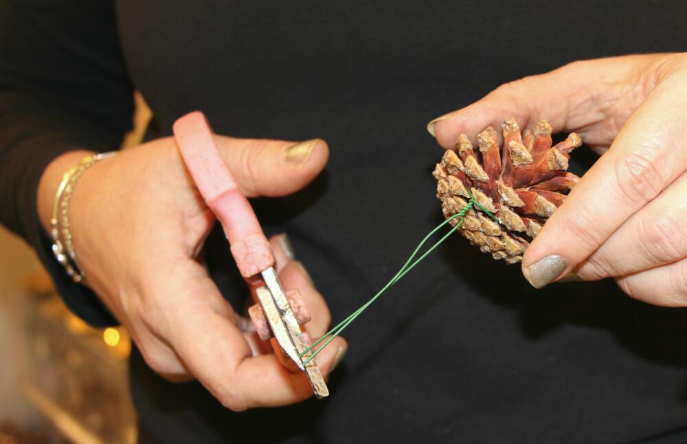 KONGLER: Surr ståltråd rundt konglen og klipp av ved ønsket lengde.